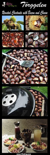 Törggelen - Roasted Chestnuts with Bacon and Cheese http://www.1finding.com/toerggelen-roasted-chestnuts-with-bacon-and-cheese/