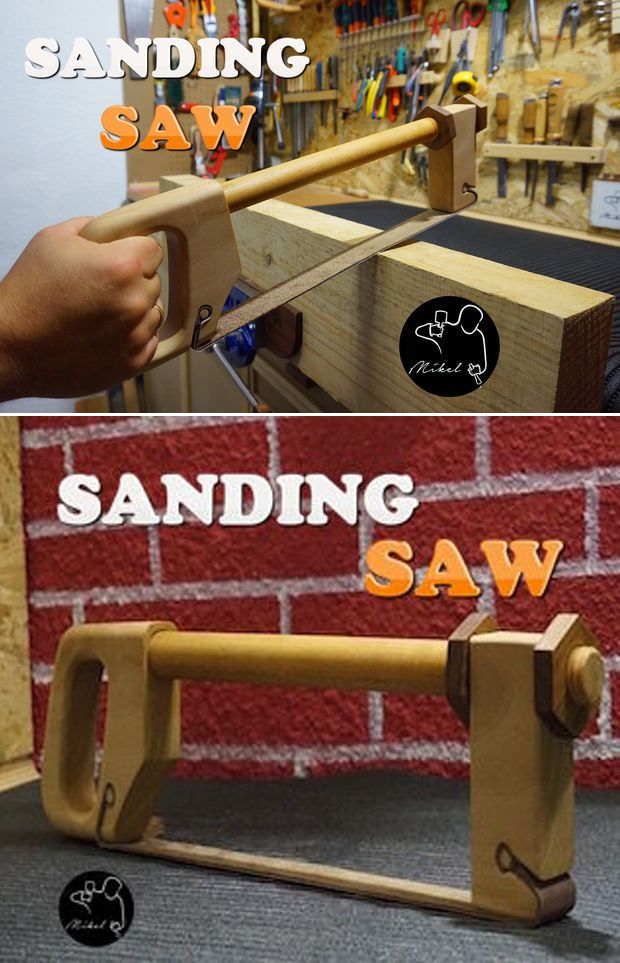 For those of us who collect homemade sanding blocks or need to sand around corners and curves, may I present to you this homemade bow sander.
