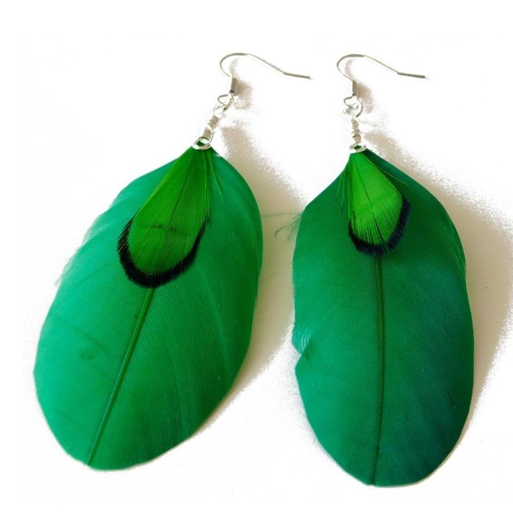 Veren oorbellen groen