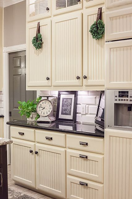 how to add beadboard to your kitchen cabinets