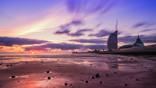 Sunset at Sail City Hotel, Bremerhaven, Germany