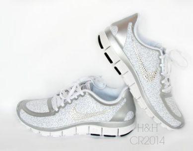 womens nike free 5.0 v4 whitemetallic silverpure platinum cheetah 2.0 with swarovski crystal details