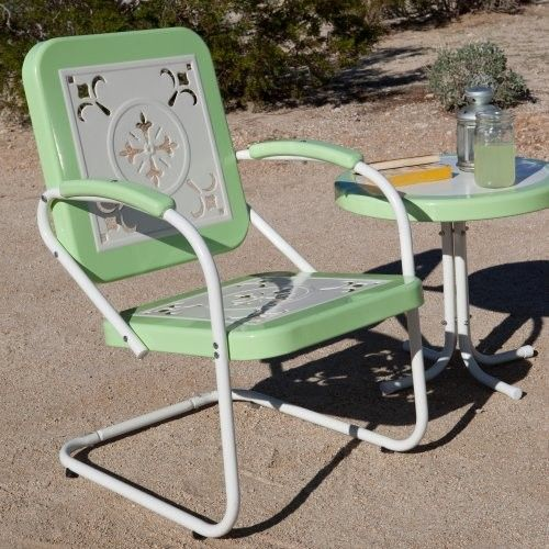Paradise Cove Retro Metal Arm Chair Green Eclectic Outdoor