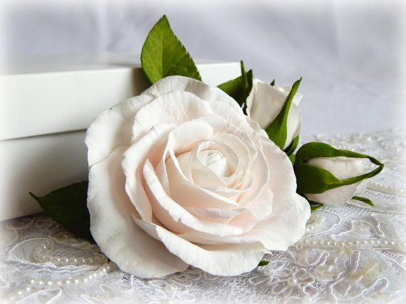 White realistic flowers Wedding barrette White by FloraFantasyIZ