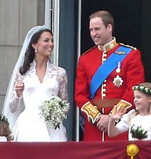 William and Kate wedding - The Duchess of Cambridge, in Alexander McQueen dress by Sarah Burton, with Prince William, Duke of Cambridge on their wedding day, 2011