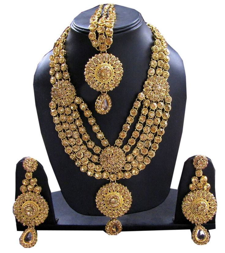 Necklace Set Indian Gold Jewelry Fashion Wedding Bridal Bollywood Ethnic Tikka #Handmade