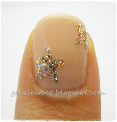 Paint glitter nail polish on a plastic bag. once dry, peel off and cut with a star paper punch. Color Club Gingerbread and Take the stage