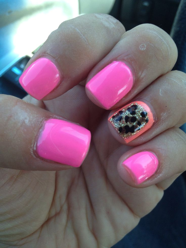 My nail lady rocks! Short nails corral nail glam nail art hot-pink cheetah-glitter