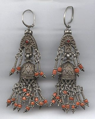 Kazakhstan | Antique heavy silver, coral and read glass earrings | 225$