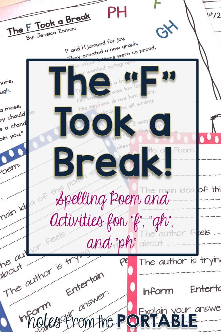 "Love this spelling poem!  Such a fun way to learn about the different ways to learn how to spell the sound of ""f"". Spelling lists, poem, main idea, and literacy center practice pages included."