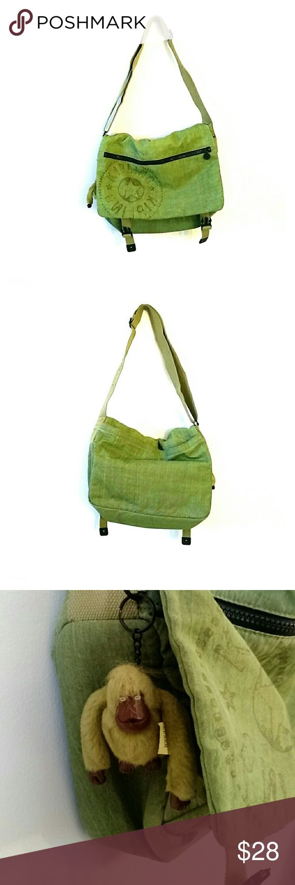 "LOWER PRICE- Kipling large messenger bag Large messenger bag (can fit 17"" laptop) with adjustable straps, beautiful and subtle green color, in great condition, has one small light ink stain on the inside front panel (see last photo) Kipling Bags Crossbody Bags"