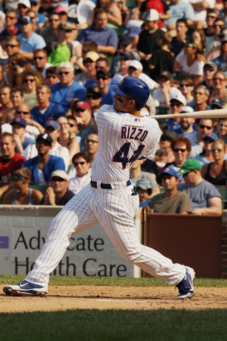 Anthony Rizzo...first home run as a Cub.: Anthony Rizzofirst, Chicago Sports, Chicago Cubs, Cubs Baseb, Sports Galor,  Baseball Players, Sports Stuff, First Homes, Anthony Rizzo First