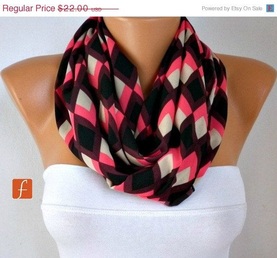 Chevron - Infinity Scarf Shawl Circle Scarf Loop Scarf Gift -fatwoman on
