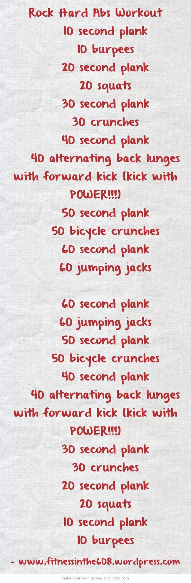 Rock Hard Abs Workout 10 second plank 10 burpees 20...