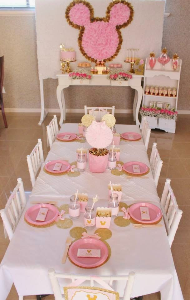 185 best Pink Gold Minnie Mouse First Birthday Ideas images on