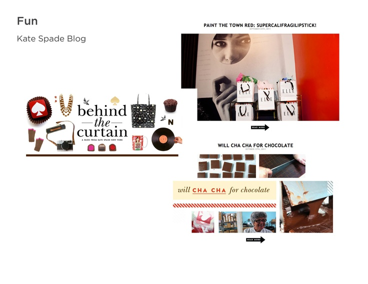 """Theme: Unexpected. Kate Spade blog is colorful with unexpected, quirky elements. There is a play on words like, """"supercalifragilipstick""""."""