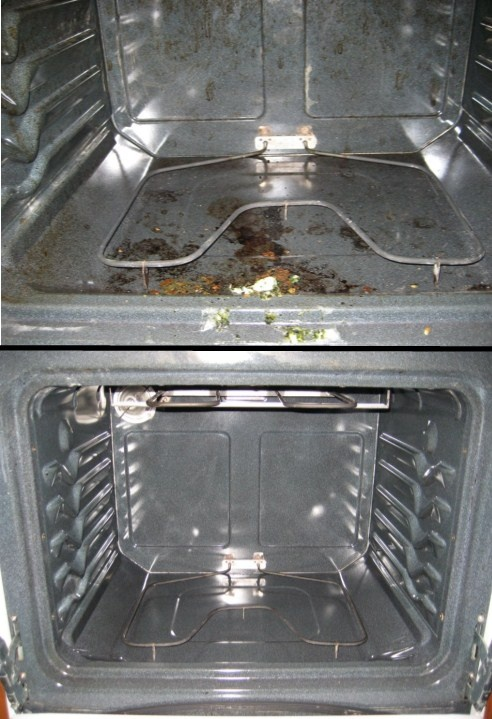 For a good stove cleaning remove the door by opening it to the first position to where it will stay open by itself and slide it off.  Use Bar Keeper's Friend and make a paste with either water or vinegar.  Scrub it with a small SOS pad. When you're done wipe it down with a damp towel.