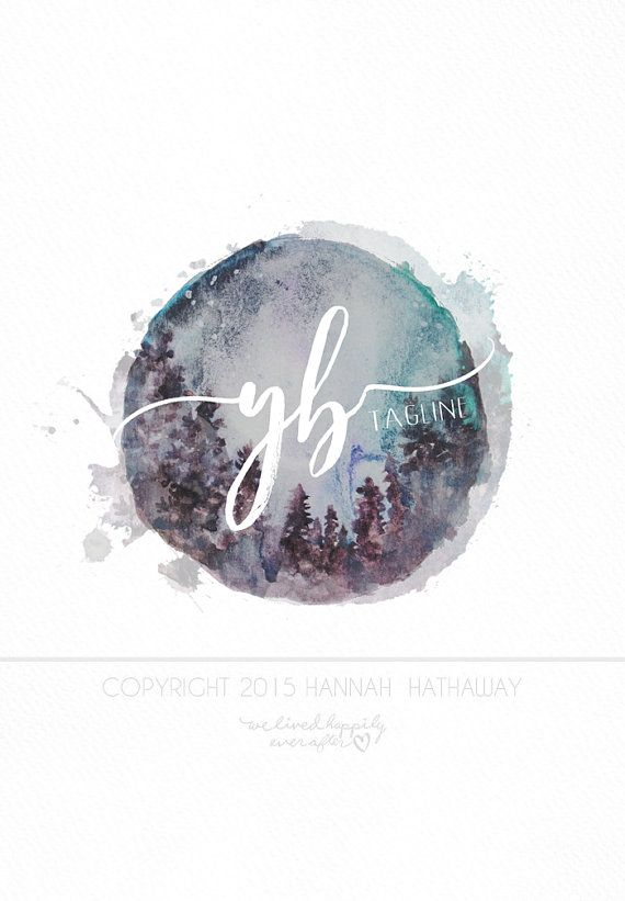 Watercolor Vintage Logo: Premade Boho Business Logo (Item #151BK)