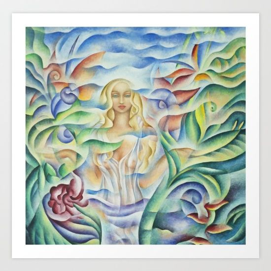 """Art print of Flower Goddess - Oil Painting by Monique Rebelle. Gallery quality Giclée print on natural white, matte, ultra smooth, 100% cotton rag, acid and lignin free archival paper using Epson K3 archival inks. Custom trimmed with 1"""" border for framing. #painting #artworkforlivingroom #artworkidea #livingroom #homedecor #oilpainting #flowerpainting #flowerart #Giclée print"""
