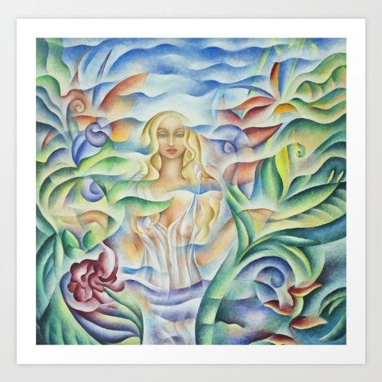 Art print of Flower Goddess - Oil Painting by Monique Rebelle.