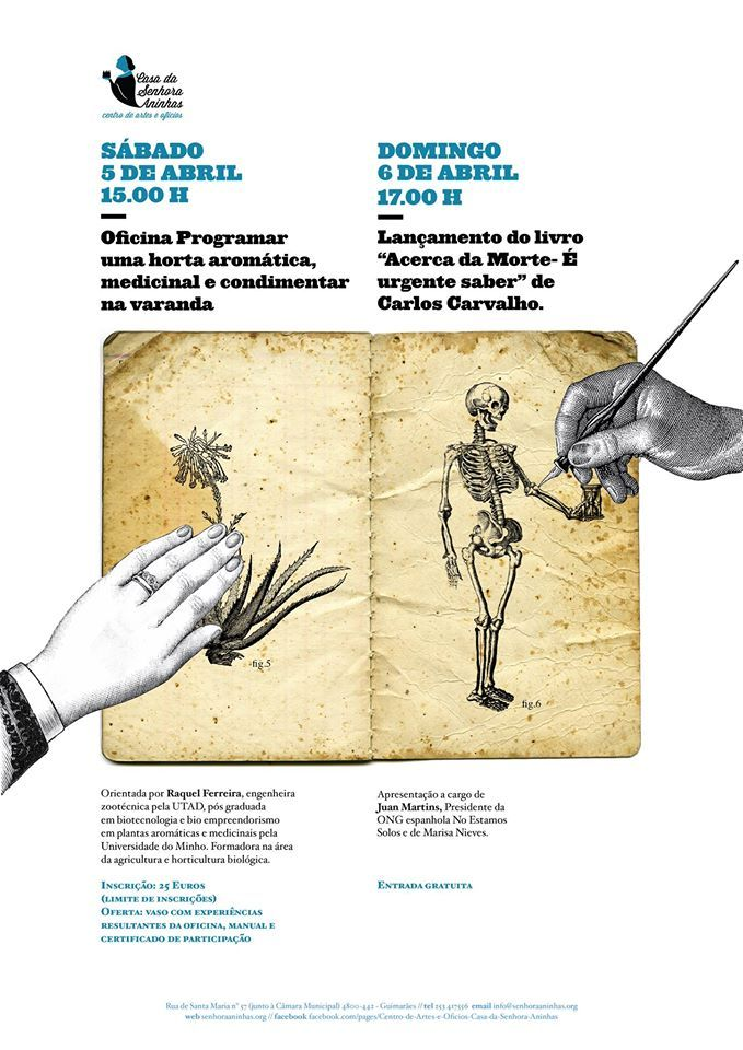 Poster of the activities held in April 2014 at Arts & Crafts Center Casa da Senhora Aninhas, created by João Fonseca, graphic designer.