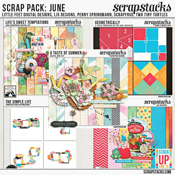 JUNE SCRAP PACK by Scrapyrus Designs,  Little Feet Digital Designs, Two Tiny Turtles Designs, LJS Designs, and Penny's Miscellany    @ Scrap Stacks Shop http://scrapstacks.com/shop/Scrap-Pack-June-2015.html