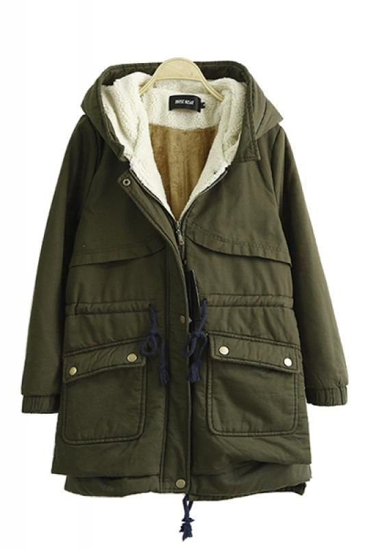 Drawstring Hooded Long Sleeve Cotton-Padded Winter Coat