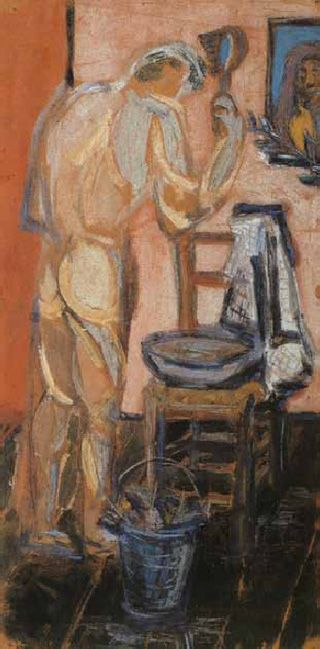 """Pier Paolo Pasolini, """"Man Washing"""" (1947). Tempera and pastels on thin brown paper, 23.62 x 11.65 inches. (all images via academia.edu)"""