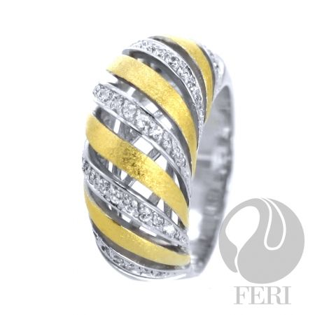FERI Golddust Celebration ring, fine sterling silver, 0.5 Rhodium plated and gold plated with AAA cubic zirconia