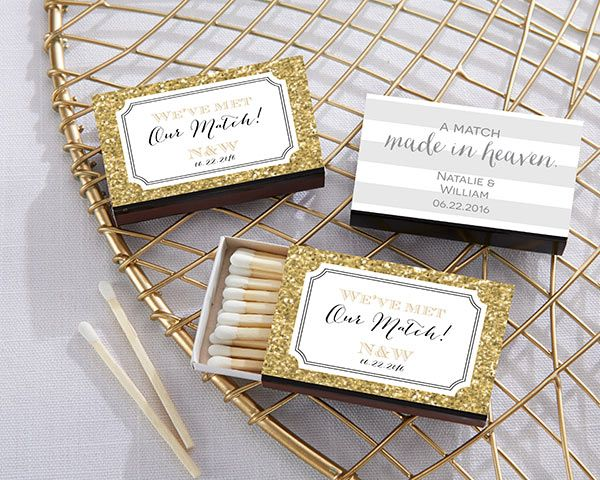 Personalized matchboxes from Kate Aspen are available in unique designs for your big day.