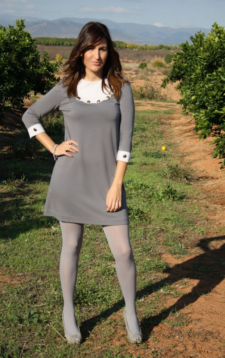 Grey pantyhose + grey heels + grey dress = colorful outfit ...