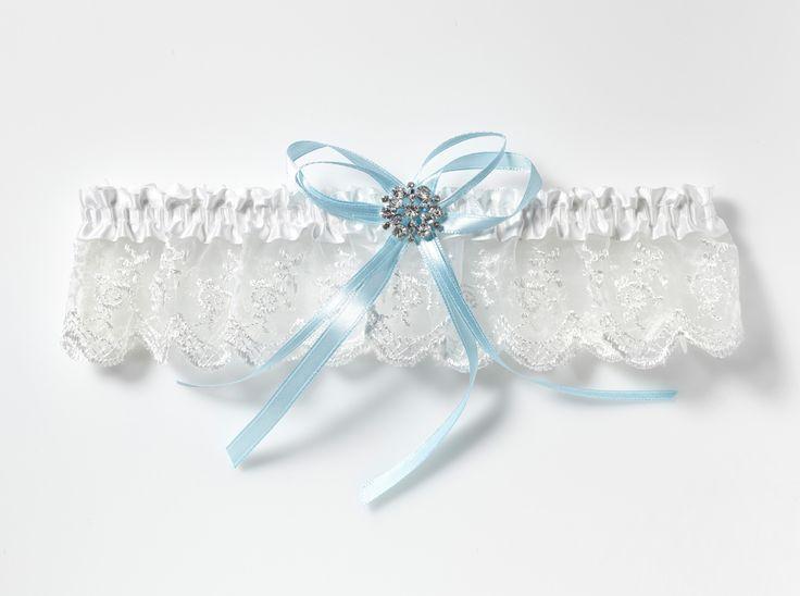  Für die Strumpfband aus Spitze mit blauen Bändern und Strass-Accessoire