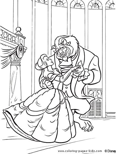 Belle And The Beast Color Sheet Beauty Page Disney Coloring
