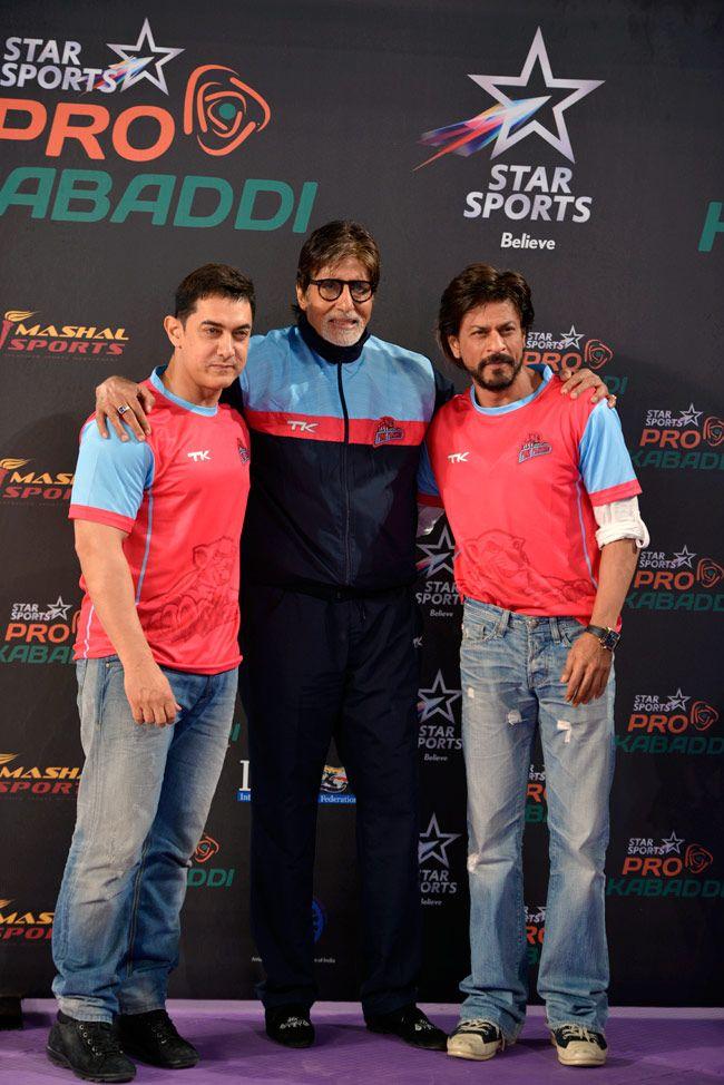 Aamir Khan, Amitabh Bachchan and Shah Rukh Khan at the Pro Kabaddi League opener. #Style #Bollywood #Fashion #Handsome