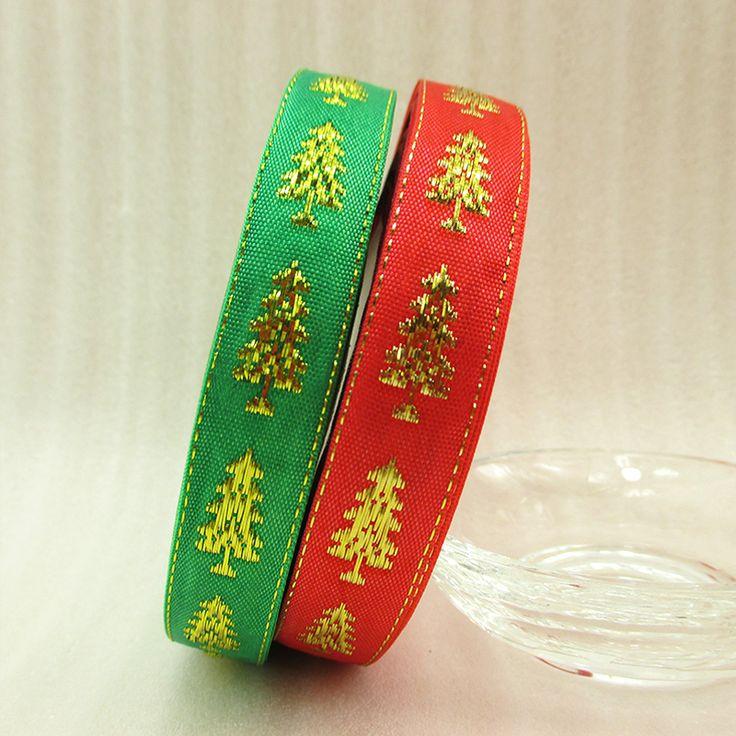 25Y42812 5/8  ( 16 мм ) рождественская елка золотая лента высокое качество напечатаны полиэстер лента 25 ярды, Свадьба подарочная упаковка