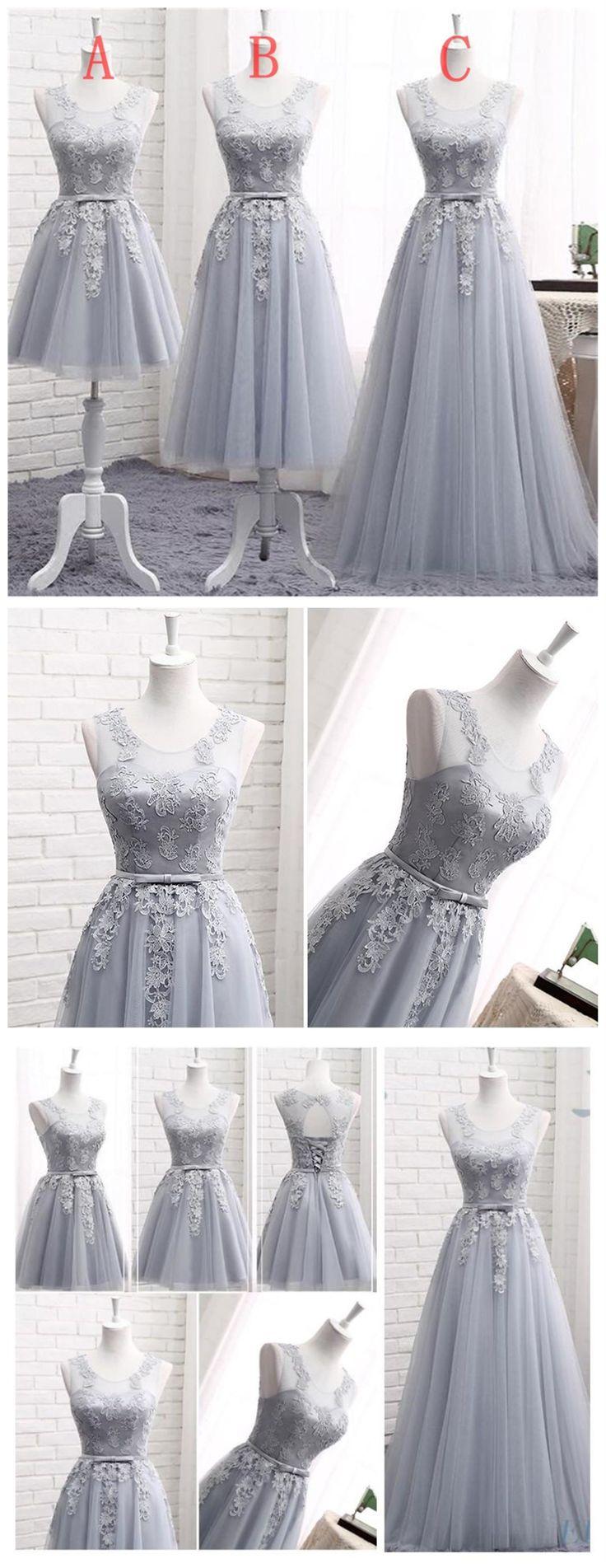 Gray Lace A line Long Bridesmaid Dresses, Cheap Custom Long Bridesmaid Dresses, Affordable Bridesmaid Gowns, BD019