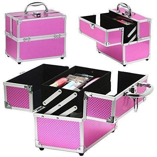 Luxury Aluminium Makeup Vanity Case Beauty Nail Tech Organiser Cosmetic Pink Box