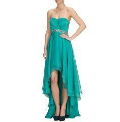 LUXUAR Vokuhila-Kleid mit Ziersteinbesatz  in Smaragdgrün | FASHION ID Online Shop