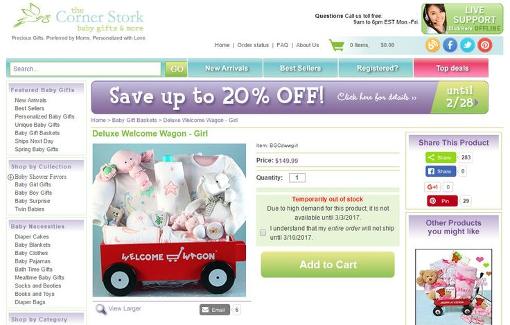 Baby Girl Welcome Wagon from Corner Stork