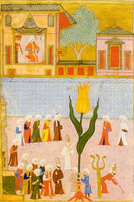 Die große Tulpe Nicht nur in der Gartenkultur, auch in der Bildenden Kunst der Osmanen ist die Tulpe omnipräsent. Ihrer Bedeutung bewusst, präsentiert hier die Gärtner- und Blumenzüchterzunft eine überdimensionierte Tulpe bei einer Parade.