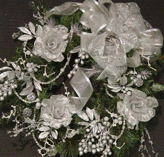 Christmas Winter Victorian Rose door Wreath great 25 ...