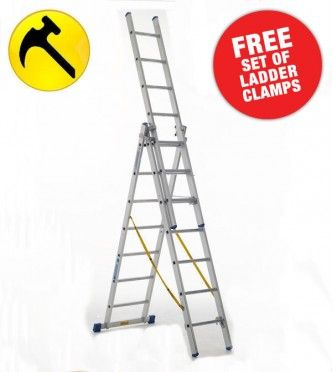 Free set of Ladder Clamps with every purchase of Zarges Trade Skymaster Combination Ladders