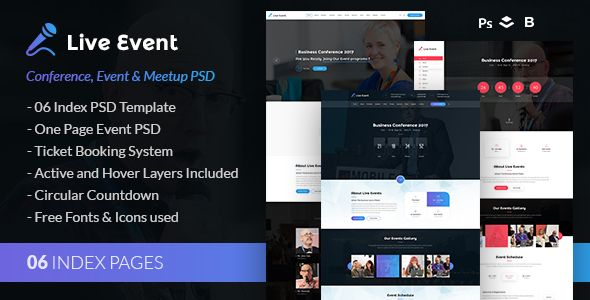 Live Event - Conference, Event & Meetup PSD Template - Events Entertainment Download here : https://themeforest.net/item/live-event-conference-event-meetup-psd-template/19707231?s_rank=10&ref=Al-fatih