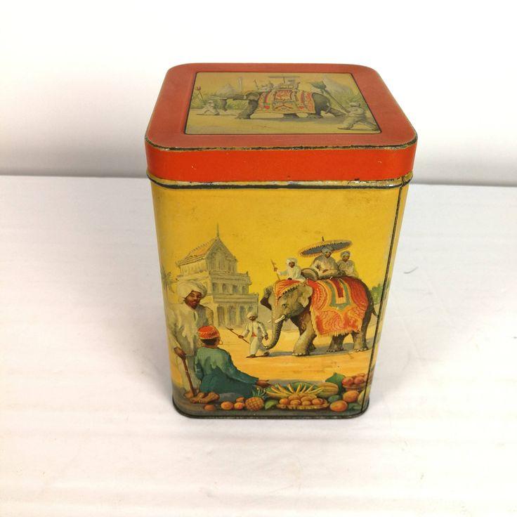 Fabulous Early Lipton Tea Tin  Elephant India Hobokon NJ USA Thomas J http://etsy.me/2E7RAnc #vintage #collectables #yellow #silver #lipton #tea #tin #metal #india