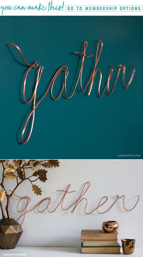 Gather Copper Wire Decor - Lia Griffith - www.liagriffith.com #diyinspiration #diywalldecor #diyfalldecor #diyholiday #homefortheholidays #diyhomedecor #copper #madewithlia