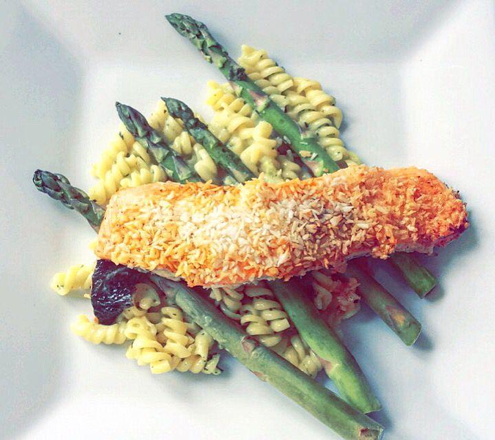 Papaya Norwegian salmon Fish seafood coconut aspargus pasta homemade