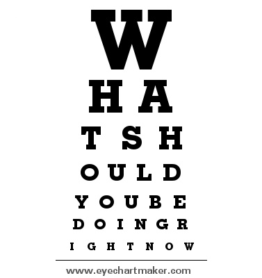 "Another fun way to communicate with students. I intend to make one that says, ""What should you be doing right now?"" That I present to students who are off task? Then as the year progresses I can just tell them ""look at your eye chart"" as a less combative way of getting them back on task."