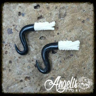 Buffalo Horn with Bone Dragon Spiral