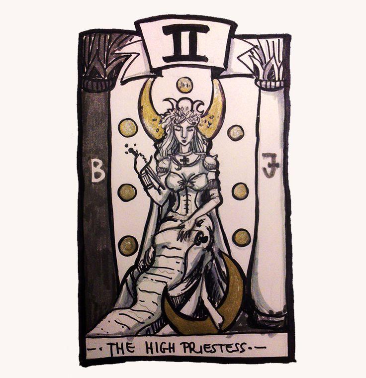# inktober #tarot #highpriestess Erika Biró https://www.behance.net/szisszm0k