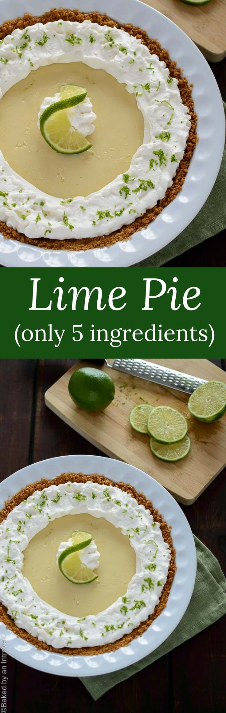 This 5 ingredient lime pie features the perfect balance between sweet and tart with a cool, creamy texture. No summer is complete without it! via @introvertbaker